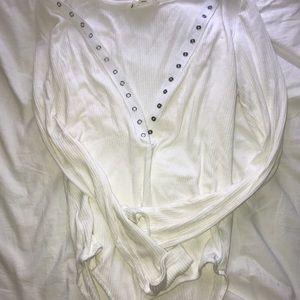 Tops - White Button Front Bodysuit Medium